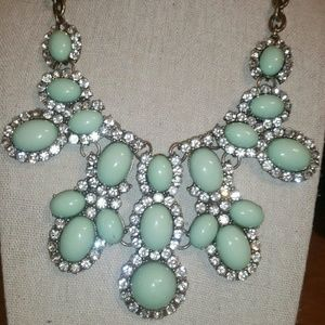 Antique Gold, Mint Green Cabochon Statement Neckla